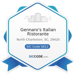 Gennaro's Italian Ristorante - SIC Code 5812 - Eating Places