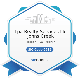 Tpa Realty Services Llc Johns Creek - SIC Code 6512 - Operators of Nonresidential Buildings