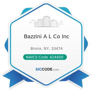 Bazzini A L Co Inc - NAICS Code 424450 - Confectionery Merchant Wholesalers