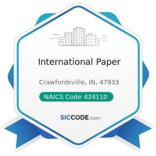 International Paper - NAICS Code 424110 - Printing and Writing Paper Merchant Wholesalers