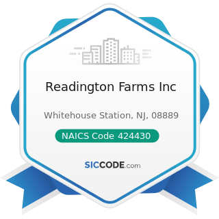 Readington Farms Inc - NAICS Code 424430 - Dairy Product (except Dried or Canned) Merchant...