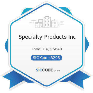 Specialty Products Inc - SIC Code 3295 - Minerals and Earths, Ground or Otherwise Treated