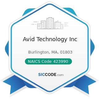 Avid Technology Inc - NAICS Code 423990 - Other Miscellaneous Durable Goods Merchant Wholesalers
