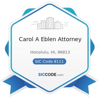Carol A Eblen Attorney - SIC Code 8111 - Legal Services