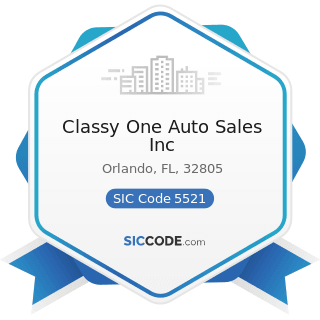 Classy One Auto Sales Inc - SIC Code 5521 - Motor Vehicle Dealers (Used Only)