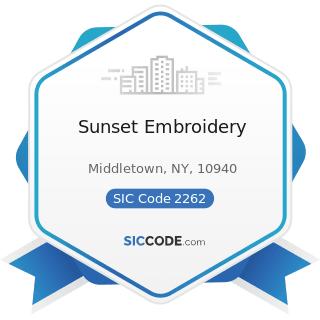 Sunset Embroidery - SIC Code 2262 - Finishers of Broadwoven Fabrics of Manmade Fiber and Silk