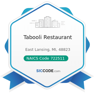 Tabooli Restaurant - NAICS Code 722511 - Full-Service Restaurants