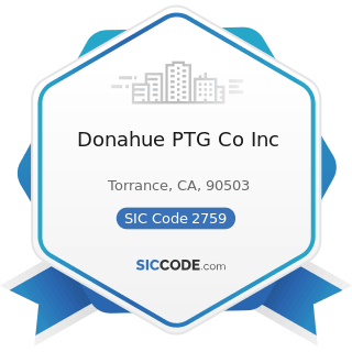 Donahue PTG Co Inc - SIC Code 2759 - Commercial Printing, Not Elsewhere Classified
