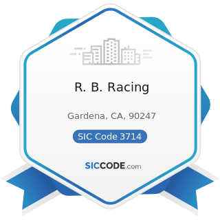 R. B. Racing - SIC Code 3714 - Motor Vehicle Parts and Accessories