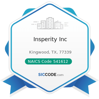 Insperity Inc - NAICS Code 541612 - Human Resources Consulting Services