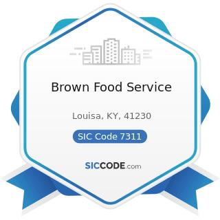 Brown Food Service - SIC Code 7311 - Advertising Agencies