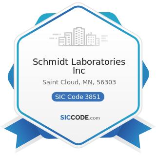 Schmidt Laboratories Inc - SIC Code 3851 - Ophthalmic Goods