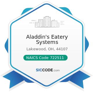 Aladdin's Eatery Systems - NAICS Code 722511 - Full-Service Restaurants