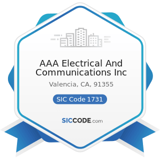 AAA Electrical And Communications Inc - SIC Code 1731 - Electrical Work