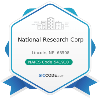 National Research Corp - NAICS Code 541910 - Marketing Research and Public Opinion Polling