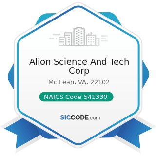 Alion Science And Tech Corp - NAICS Code 541330 - Engineering Services