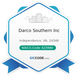Darco Southern Inc - NAICS Code 423990 - Other Miscellaneous Durable Goods Merchant Wholesalers