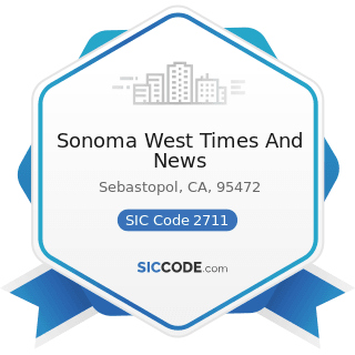 Sonoma West Times And News - SIC Code 2711 - Newspapers: Publishing, or Publishing and Printing