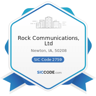 Rock Communications, Ltd - SIC Code 2759 - Commercial Printing, Not Elsewhere Classified