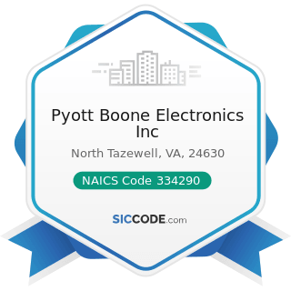 Pyott Boone Electronics Inc - NAICS Code 334290 - Other Communications Equipment Manufacturing