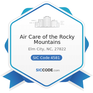 Air Care of the Rocky Mountains - SIC Code 4581 - Airports, Flying Fields, and Airport Terminal...