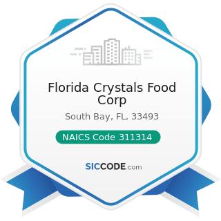 Florida Crystals Food Corp - NAICS Code 311314 - Cane Sugar Manufacturing