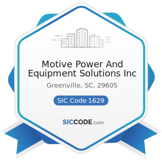 Motive Power And Equipment Solutions Inc - SIC Code 1629 - Heavy Construction, Not Elsewhere...