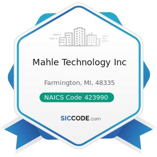 Mahle Technology Inc - NAICS Code 423990 - Other Miscellaneous Durable Goods Merchant Wholesalers