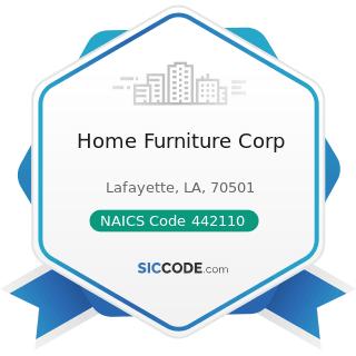 Home Furniture Corp - NAICS Code 442110 - Furniture Stores