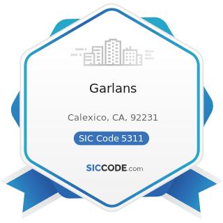Garlans - SIC Code 5311 - Department Stores