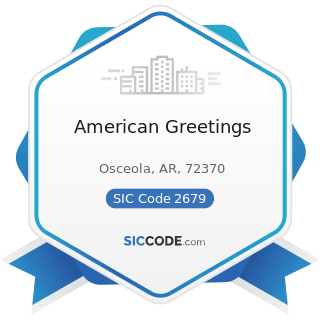 American Greetings - SIC Code 2679 - Converted Paper and Paperboard Products, Not Elsewhere...