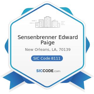 Sensenbrenner Edward Paige - SIC Code 8111 - Legal Services