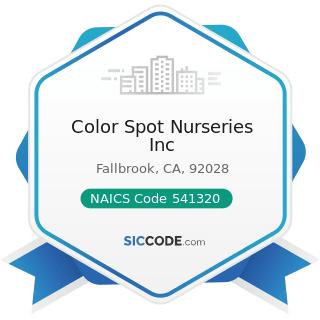 Color Spot Nurseries Inc - NAICS Code 541320 - Landscape Architectural Services