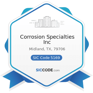 Corrosion Specialties Inc - SIC Code 5169 - Chemicals and Allied Products, Not Elsewhere...