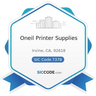 Oneil Printer Supplies - SIC Code 7378 - Computer Maintenance and Repair