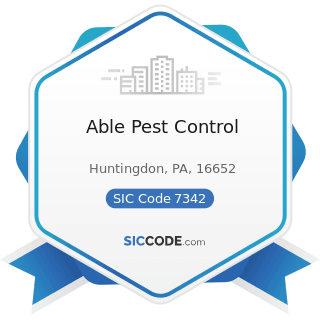 Able Pest Control - SIC Code 7342 - Disinfecting and Pest Control Services