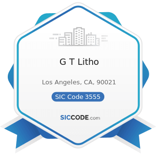 G T Litho - SIC Code 3555 - Printing Trades Machinery and Equipment