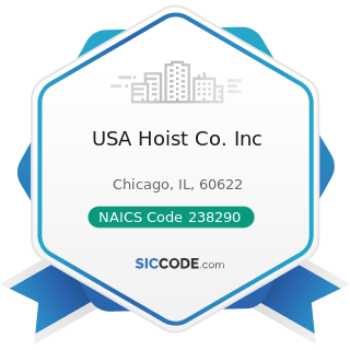 USA Hoist Co. Inc - NAICS Code 238290 - Other Building Equipment Contractors