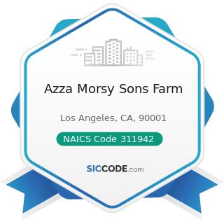 Azza Morsy Sons Farm - NAICS Code 311942 - Spice and Extract Manufacturing