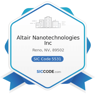 Altair Nanotechnologies Inc - SIC Code 5531 - Auto and Home Supply Stores