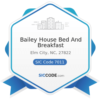 Bailey House Bed And Breakfast - SIC Code 7011 - Hotels and Motels