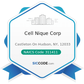 Cell Nique Corp - NAICS Code 311411 - Frozen Fruit, Juice, and Vegetable Manufacturing