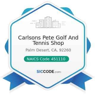 Carlsons Pete Golf And Tennis Shop - NAICS Code 451110 - Sporting Goods Stores