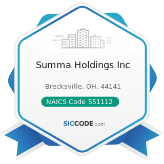 Summa Holdings Inc - NAICS Code 551112 - Offices of Other Holding Companies