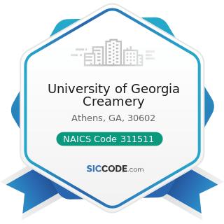 University of Georgia Creamery - NAICS Code 311511 - Fluid Milk Manufacturing