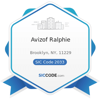 Avizof Ralphie - SIC Code 2033 - Canned Fruits, Vegetables, Preserves, Jams, and Jellies