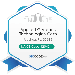 Applied Genetics Technologies Corp - NAICS Code 325414 - Biological Product (except Diagnostic)...