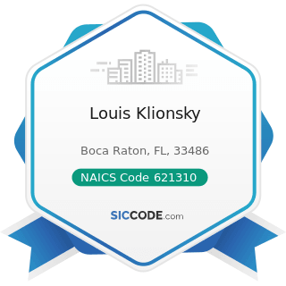 Louis Klionsky - NAICS Code 621310 - Offices of Chiropractors