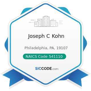 Joseph C Kohn - NAICS Code 541110 - Offices of Lawyers