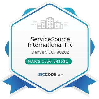 ServiceSource International Inc - NAICS Code 541511 - Custom Computer Programming Services